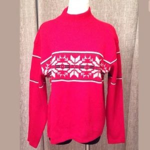 AEROPOSTALE Snow Flake Winter Red Holiday Sweater